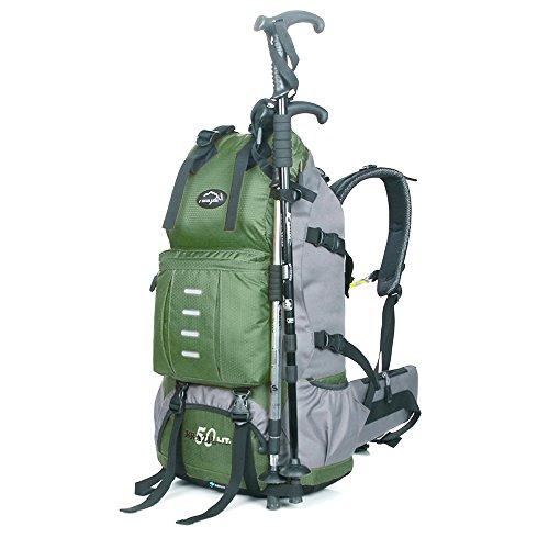 Locallion zaino 50l per escursione trekking zaini unisex professionale zaino da montagna campeggio escursionismo alpinismo sci snowboard viaggio outdoor sport (verde)