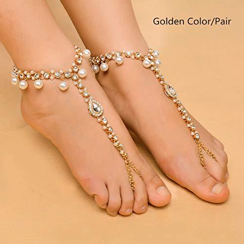 rfuß Sandalen Imitation Perle Anhänger Kristall Strass Multilayer Fußkettchen Hochzeit Strand Fuß Kette Schmuck ()