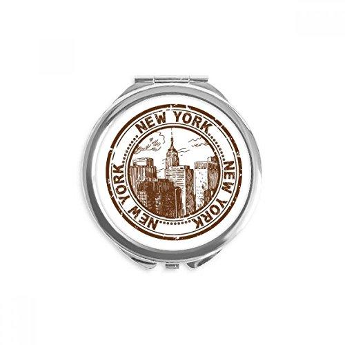 DIYthinker Amerika New York klassisches Land Stadt Spiegel Runder bewegliche Handtasche Make-up 2.6 Zoll x 2.4 Zoll x 0.3 Zoll Mehrfarbig