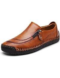Mocasín de Cuero para Hombre Zapatos cómodos y Ligeros de Punta Redonda Pisos Mocasines Antideslizantes Zapatos de Trabajo de Negocios más amplios Tamaño Grande
