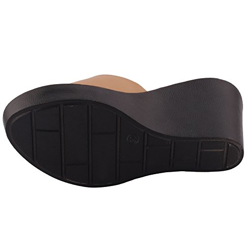 Unze Nouveau Dana Femmes 'Slip On Mid High Talon Wedge Sandales Casual Plateforme Taille 3-8 Noir