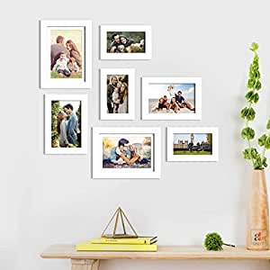 Art Street Set of 7 White Wall Photo Frame, Picture Frame for Home Decor with Free Hanging Accessories-Size-4x6, 5x7, 6x8 inchs
