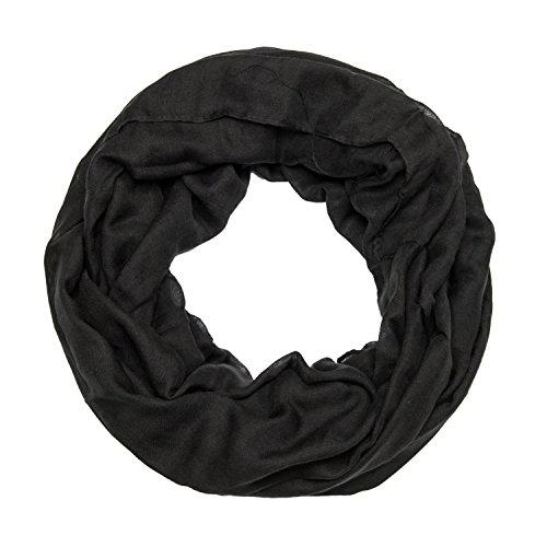ManuMar Loop-Schal einfarbig | Hals-Tuch in Uni-Farben | einfarbig Schwarz als perfektes Sommer-Accessoire | klassischer Damen-Schal - Das ideale Geschenk für Frauen
