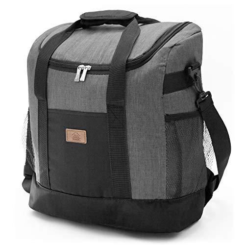 Decocasa Thermal Food Carrier Rucksack, große isotherme Tasche zum Mittagessen, 25 Liter, grau, 25 l
