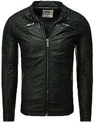 Lederjacke Jacke Herren Kunstlederjacke Redbridge schwarz Männer Stehkragen Tailliert Slim Fit