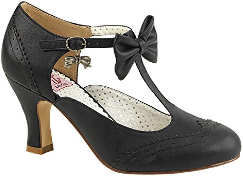 Pin Up Couture Damen T-Strap Spangen Pumps Flapper-11 schwarz