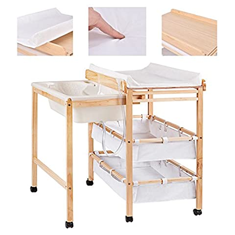 Costway Baby Changing Table Nursery Bath Changer Unit Storage Station
