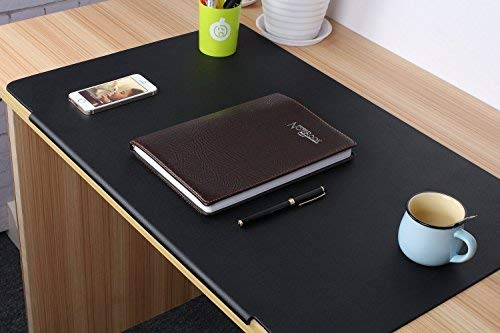 Ultra-Smooth Writing Pad Desk Mat for Desktops and Laptops Desk Pad, (Black 27.5' x 17.7' ) PVC Desk Pad & Protector Mouse Pad