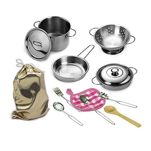 Kit da Cucina Set da Gioco in Acciaio Inox Set da Gioco per Bambini Chef Set da Cucina per Bambini Pretend Ragazzi e Ragazze Utensili da Gioco Pentole e padelle Giocattoli (12 Pezzi)