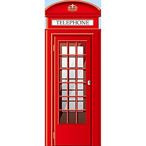 Door Wall Sticker Red Phone Boxes Removable Repositionable Mural Art Decals PVC Home Decoration DIY Living Bedroom Wall or Door Decor Wallpaper Kids Room Gift 30