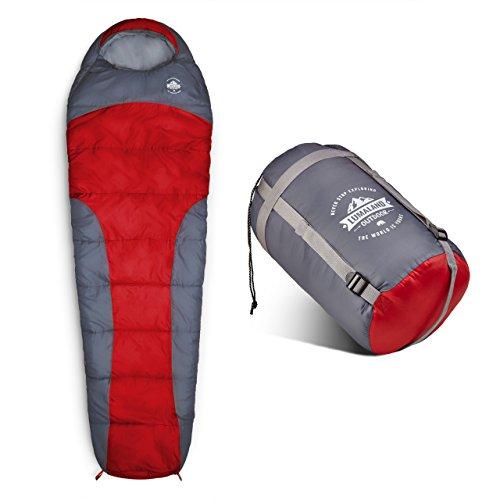 Lumaland Outdoor Schlafsack Mumienschlafsack, 230 x 80 cm, inklusive Packsack, 50 x 25 cm gepackt, rot