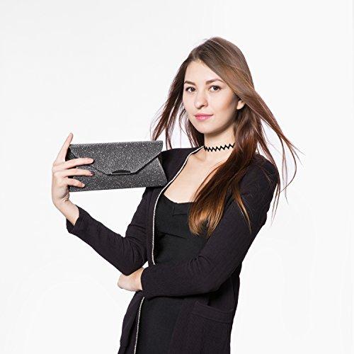 Pochette Clutch Donna Borsa Da Sera Moda Frizioni Elegante Borsa a Tracolla con catena di metallo Nero Grigio