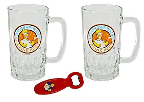 Simpsons 2 BIERGLAS 0,5L + 1x Flaschenöffner Bier Biergläser 500ml