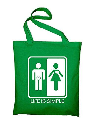 Life is simple Männer Frauen Jutebeutel, Beutel, Stoffbeutel, Baumwolltasche, gelb Grün