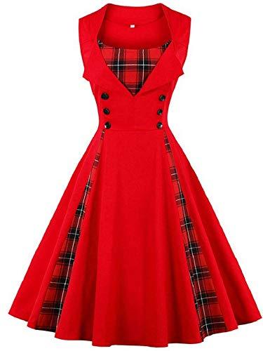 FTVOGUE Vestido de Mujer de Costura Escocesa Vintage con Sin Mangas Ajuste Delgado del Botón de la Cintura Alta (S-G)