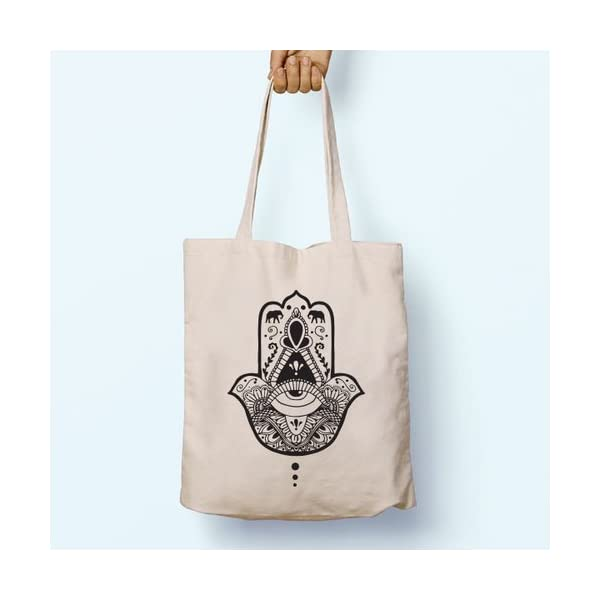 Hamsa Hand Yoga, Illustrated, Shoulder, Tote, Long Handles, Graphic, Cute, Tumblr, Hipster, Beach, Gym, Festival, School, Bag - handmade-bags