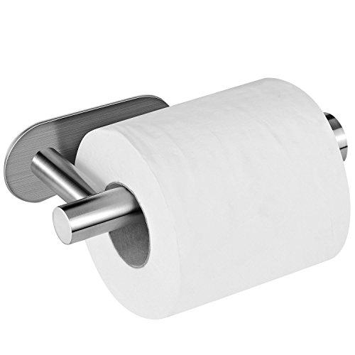 Portarrollo para Papel Higiénico, Aikzik® Adhesivo 3M Acero Inoxidable Toallero Colgador  Autoadhesivo Sin Tornillos Sin Taladro, para Baño Cocina
