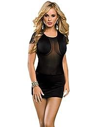 saphira mode. Minikleid aus schwarzem Satin. Klare Mesh. Teddy. Body
