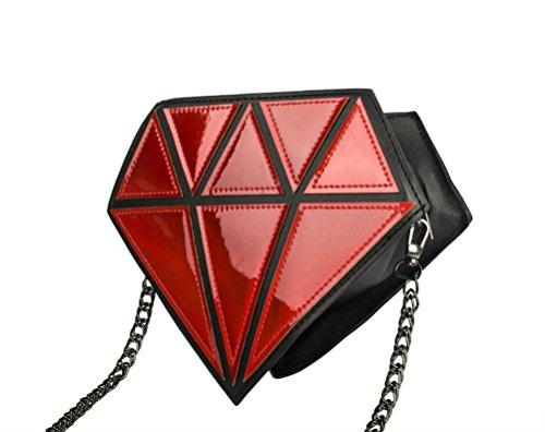 Honeymall ologramma trasparente Borsa Messenger da Donna a forma di diamante laser olografico Crossbody Catena bag Viola Rosso