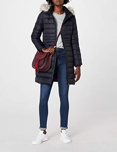 Tommy Jeans Hilfiger Denim Damen Mantel THDW Basic Coat 3, Schwarz (Black Beauty 003/Dark Blue), X-Small - 4