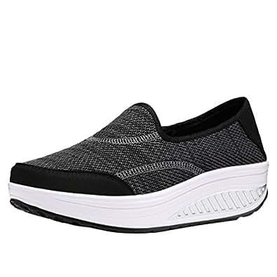 Yiiquanan Damen Sportschuhe Sneaker Freizeitschuhe Atmungsaktiv Runder Kopf Dicker Boden Running Schuhe (Weiß, EU 41.5)