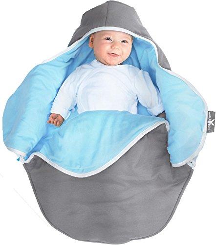 Wallaboo Einschlagdecke Coco, Sehr praktische und Kuschelweiche Babydecke, 100% Baumwolle, 90 x 70 cm, Farbe: Grau / Blau