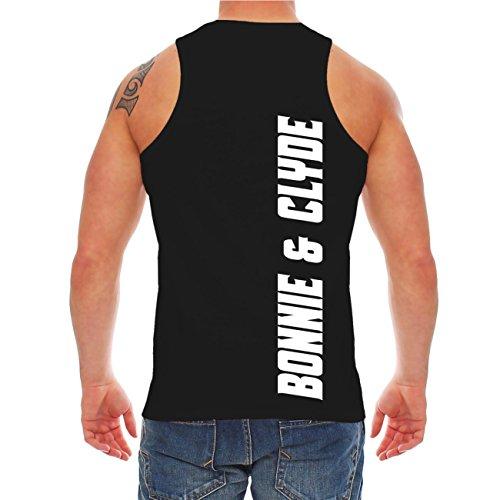 Männer und Herren Trägershirt Bonnie & Clyde FÜR IMMER (mit Rückendruck) Schwarz