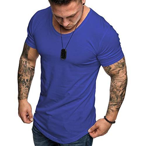 Camisetas Hombre Manga Corta SHOBDW 2019 Blusas Color