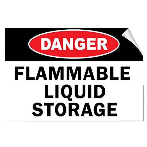 Label Decal Sticker Danger Flammable Liquid Storage Hazard Flammable Durability Self Adhesive Decal Uv Protected & Weatherproof (Liquid-label Flammable)
