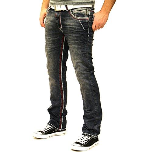 Rusty Neal NEON-NAHT Kontrast Naht Slim Jeans Hose Used Blau Denim 8323-31 ROT, Schrittlänge:W33 / L32 (Schrittlänge Jeans Herren)