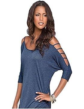 QianSheng - Camiseta de mujer, con manga 3/4, hombro caído, diseño de verano, color sólido, algodón, azul, XXL
