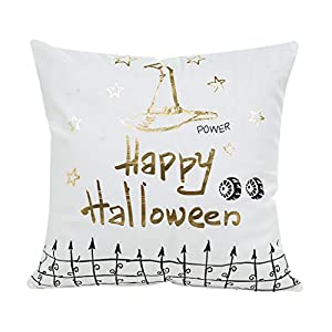VNEIRW Kissen im Leinenstil 45X45CM, Halloween Heißpräge Kissenbezug Dekokissenbezug Kissenbezüge Dekorative…