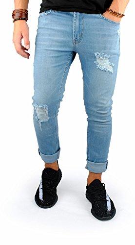 FiveSix Herren Slim-Fit Used-Look Denim Destroyed-Look Zerrissen Löcher Bikerjeans Skinny Jeans Hose mit Stretch Hellblau-2