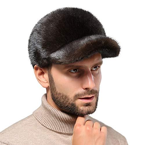 Mmyunx Mink Fur Hat, Winter Hat Lei Feng Hat Trapper Hat to Keep Warm Cotton Cap Baseball Cap, Fit Men Women,Brown,L -