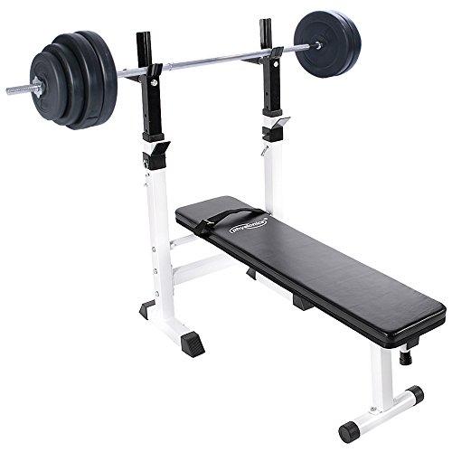 Physionics - Banc de Musculation Pliable avec Repose Barre Réglable et Haltère Long 60 kg