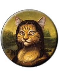 Chat Meowna Lisa parodie–Mona Lisa Leonardo da Vinci en métal revers Bonnet pour homme sac à main sac de broches de Pinback