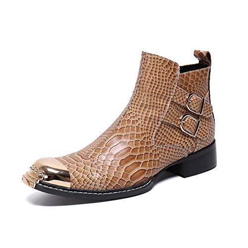 Xly stivaletti da uomo in vera pelle martin con stampa coccodrillo moda cerniera laterale scarpe eleganti con punta in metallo,41