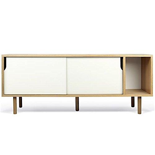 DANN, buffets à portes coulissantes, avec ou sans tiroirs - DANN 165, pieds bois, Structure en chêne (placage), portes en blanc mat