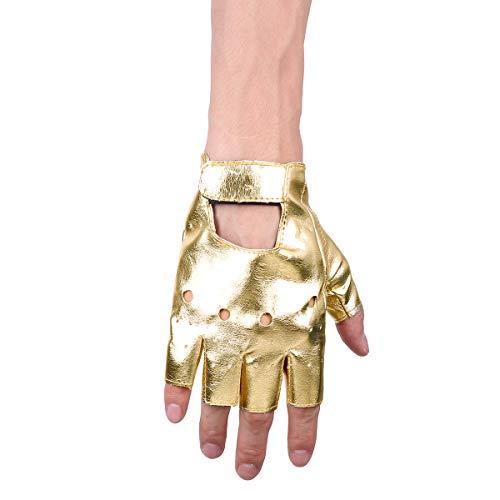 Tiaobug Punk Rock Leder Halbfinger Fahrrad Handschuhe Männer Frauen Gothic Zubehör für Cosplay Halloween Kostüm Sport Nachtclub Gold One Size (Für Frauen Sport-halloween-kostüme)