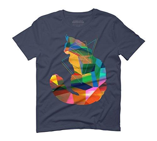 Cubism Cat Men's Graphic T-Shirt - Design By Humans Navy