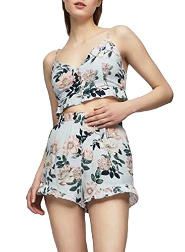Azbro Women's Floral Printed Spaghetti Strap Crop Top Shorts 2 Pieces Sets White
