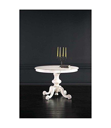Spazio casa tavolo tondo allungabile con piede centrale intarsiato in legno massello - Ø 120 cm, bianco