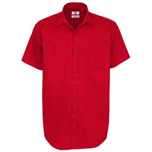B C Collection Herren & Sharp Smart Work Short Sleeve Dunkelrot