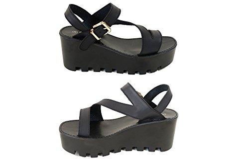 Womens Mesdames Chunky semelle plateforme sandales d'été cales Plateforme Chaussures Taille Black (4073-2110)