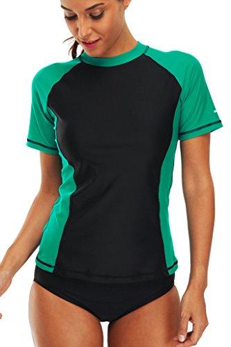 Alove Women's Rash Vest Short Sleeve Rash Guard Tankini Top Sun Protection Swim Top UPF 50+ Swimwear Swimsuit