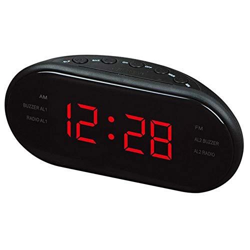 FOWYJ LED Wecker, AM/FM Radio Desktop Elektronische Digital Snooze Function Clock,Red,EU