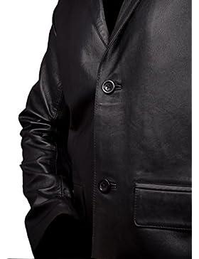 Hombres Auténtico Cuero Blazer Abrigo Negro - 2 Button