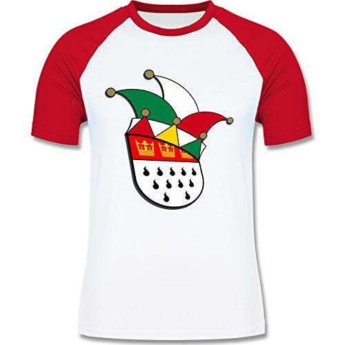 Shirtracer Karneval & Fasching - Köln Wappen Narrenkappe - Herren Baseball Shirt Weiß/Rot