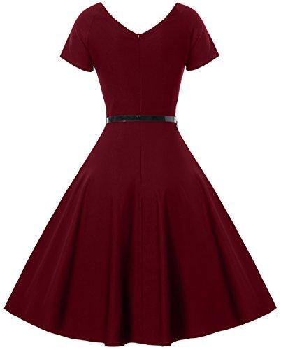 Gigileer Damen Vintage V-Ausschnitt Schwingen Rockabilly Ballkleid Kleider Cocktailkleid Burgundy S - 2