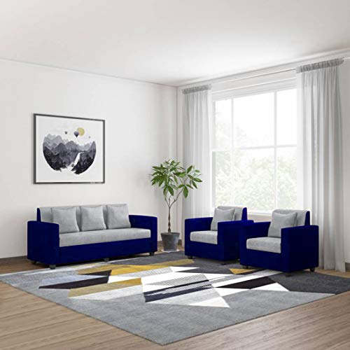 Bharat Lifestyle Tulip Fabric 3 + 1 + 1 Seater Sofa Set(Grey & Blue)